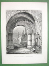 SCOTLAND Aberbrothoc Abbey Remains of Doorway Arch - Antique Print - $10.71