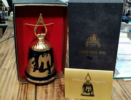 Pickard Christmas Bell 1977 The First Noel Blue 23k Gold with Box Card 2... - $30.00