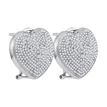 Sterling Silver Round Diamond Heart Love Omega-back Cluster Earrings 1.00 Ctw - $629.00