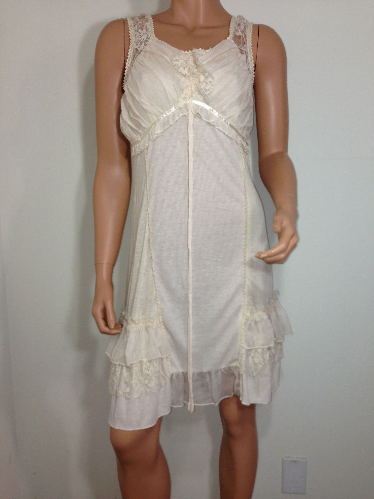 Forla Paris ivory Cream Sheer Lace Romantic Boho Chic ruffle Dress SMALL