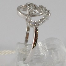 Ring White Gold 750 18K, Double Heart with Zirconia, Made in Italy image 1