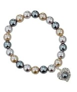 Avon Pearlesque Bracelet Grey White Heart Charm - $14.85