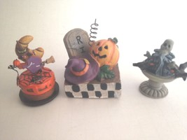 Three Halloween Ceramic Figurines Pumpkin RIP Ghost Party Decorations 2.... - €10,75 EUR