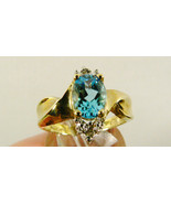 10k yellow gold 1.56 CTW Oval Blue Topaz & Diamond Fantastic Ring Sz 7 NWT - $133.85