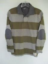 Gap Kids Boy's Size Large 100% Cotton Long Sleeve Green Striped Polo Shirt - $20.80