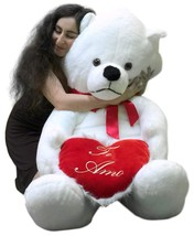 Big Plush Giant Teddy Bear 62 Inch Soft White Has TE AMO Heart Pillow Ma... - $147.11