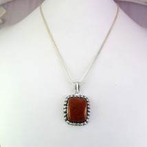 Sunstone Stone Silver Overlay Top Quality Pendant With Chain/Necklace RS-14-16_4 - $8.09