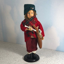CAROLER VINTAGE DOLL red green statue scarf Christmas music sheet satche... - $34.65