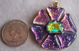 UNIQUE handmade dichroic fused glass pendant pink/yellow FLOWER P327 - $19.99