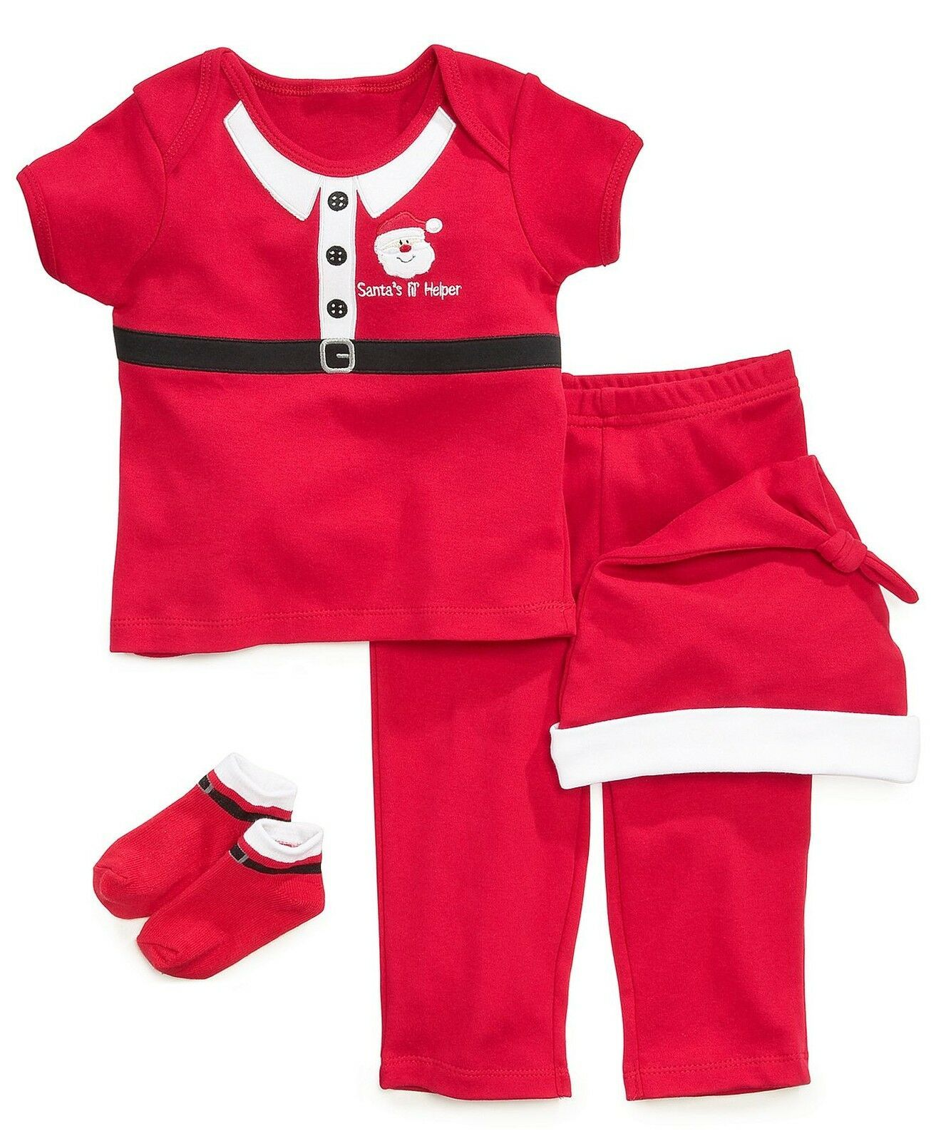 NEW Boys First Impressions 0-6 or 6-12 Months Christmas Santa 4 Piece Set  - $8.99