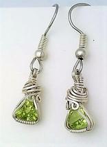 Peridot Trillion Silver Wire Wrap Earrings 1 - $35.00