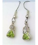Peridot trillion silver wire wrap earrings 1 thumbtall