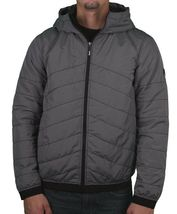 Bench Ahlo Black Charcoal Grey Quilted Lightweight Winter Jacket Hood BMKA1469 image 3