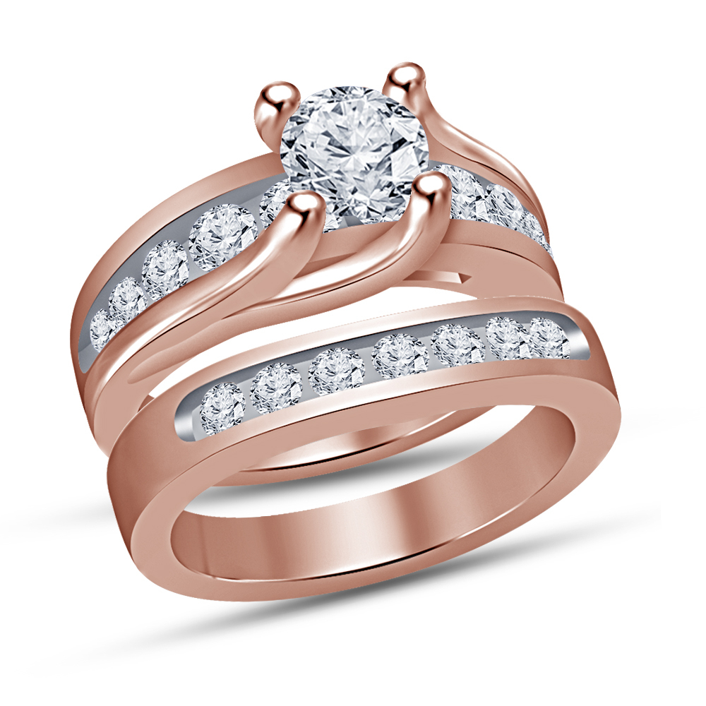 Round Cut Diamond Solitaire Engagement Ring Bridal Set Rose Gold Over 925 Silver