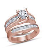 Round Cut Diamond Solitaire Engagement Ring Bridal Set Rose Gold Over 92... - $89.99