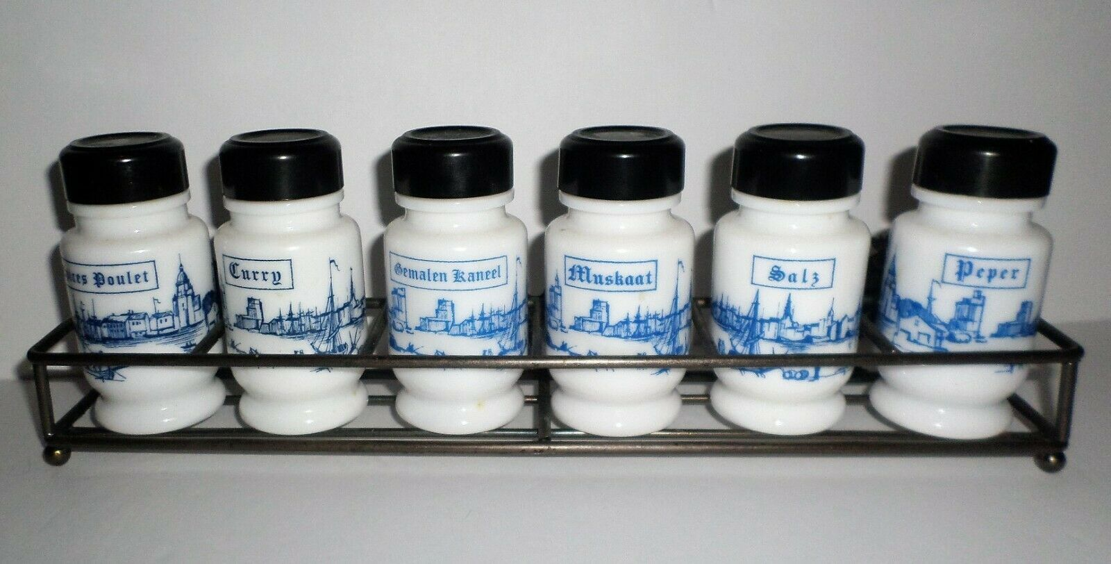 Primary image for Vintage Spice Rack & Jars Set 3 Languages French German Dutch Milk Glass Willow