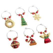 (02)6pcs Christmas Wine Glass Ring Decorations Xmas Pendants Metal Ring ... - $16.00