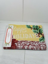 "Happy Holidays Christmas Holiday 4 Piece Fabric Mats 13"" X 18"" - $11.28"