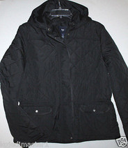 Gap NWT Women L Black Quilted Coat w/ Hood & Adjustable Waistband - $53.19