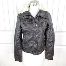 Miss Sixty M60 Women's Brown Vegan Leather Bomber Jacket Faux Fur Size S... - $39.59