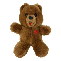 "Dakin Brown HEART THROB Teddy Bear 9"" Plush Vintage 1985 Stuffed Animal - $13.50"