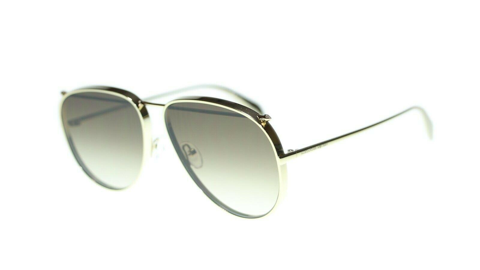 Alexander Mcqueen AM0170S 001 Unisex Metal Gafas de Sol Marco Auténtico