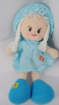 Far East Brokers plush soft rag doll blue dot dress hat flower shoes blo... - $11.57