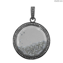 Quartz Gemstone Shaker Pendant 925 Sterling Silver Diamond Pave Handmade... - $869.19