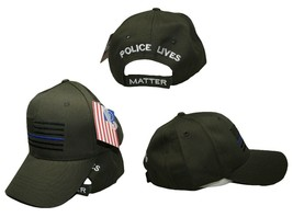 Dark Olive Green Black USA Thin Blue Line Cap Low Profile Hat Police Lives - $9.11