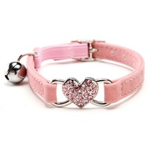 Heart Bling Cat Collar with Safety Belt and Bell 8-11 Inches Pink - $16.40