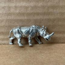 Vintage Pewter Miniature Rhinocerous Figurine - $1.98