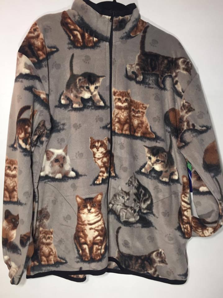 ZooFleece Cute Cats on Gray Faces Polar Fleece Jacket Best Friend Gift Birthday