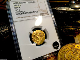"Colombia 1722-32 ""Only 2 Known Tied Finest"" 2 Escudos Ngc 45 Philip V Gold Coin - $2,850.00"
