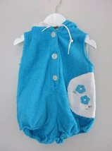 childrens vintage clothing bath robe 60's blue white baby age 1 towellin... - $12.86