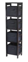 Capri 4-Section N Storage Shelf with 4 Foldable Black Fabric Baskets - $97.98