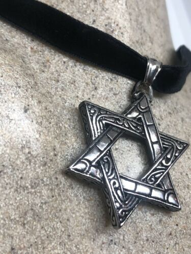 Vintage Deco Star Of David Pendant Choker Necklace Stainless Steel image 3