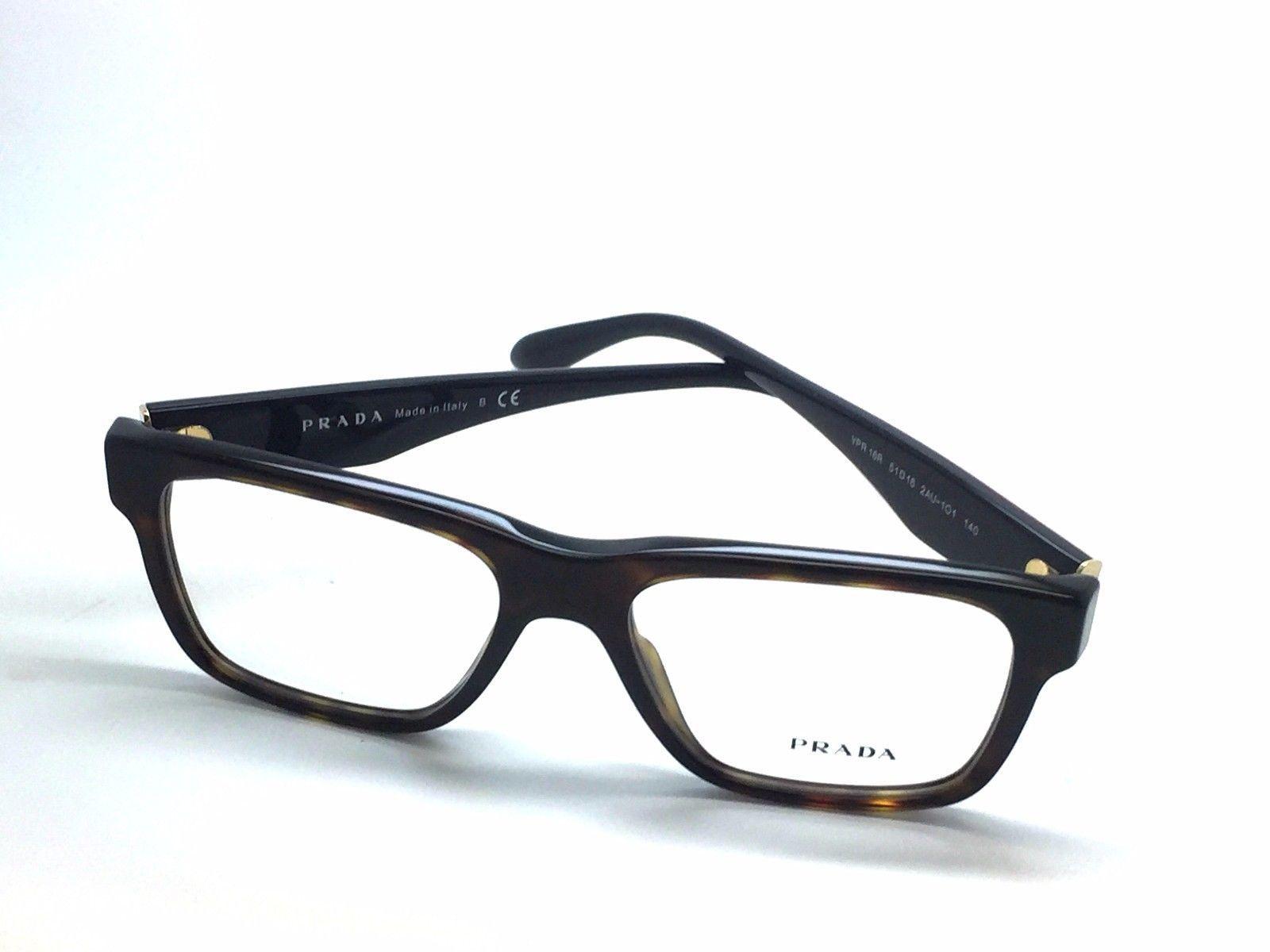 224cc34e0d75 New Prada VPR 16R 2AU-1O1 Havana Red Full-Frame Acetate Eyeglasses Italy  51mm