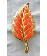 Elegant Mid Century Modern Orange Enamel Gold-tone Leaf Brooch 1960s vin... - $12.95