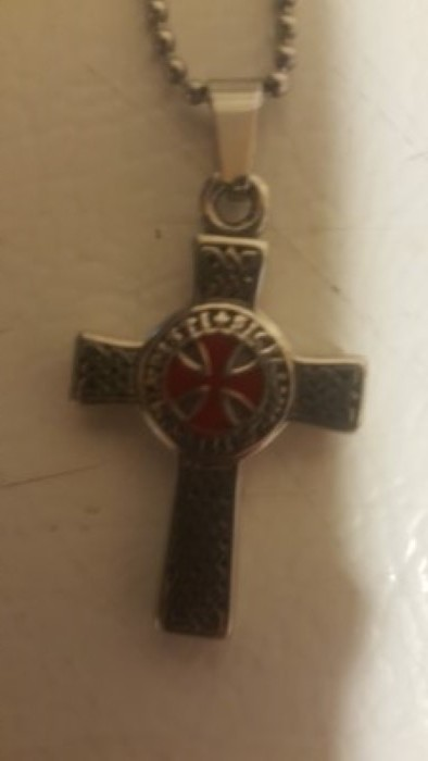 Knights Templar Stainless Steel  Necklace Cross Two-Sided Pendant