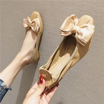Beige Bow Tie Ballet Flats Slippers Shoes Soft Casual Shoe Wedding Flat - £31.79 GBP