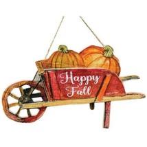 Rustic Happy Fall Wheelbarrow Pumpkins Wall Decor Festive - $26.72