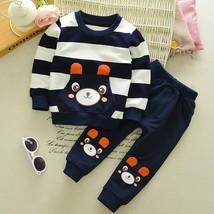 CHAMSGEND 2019 Autumn Winter Kids Baby Girl Boy Clothes Set Striped Bear - $19.38