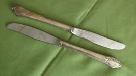 """Oneida Tudor Plate Together Pattern 2 Dinner Knives 1956 Floral 8 5/8""""  - $8.90"""