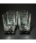 4 (Four) VINTAGE DI SARONNO CLEAR & BLACK Square Foot Cocktail Glasses-N... - $37.04
