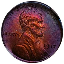 1917 MS63 RB LINCOLN WHEAT CENT * RAINBOW TONING / MINT ERROE AMERICA. - $181.30