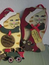 KURT S. ADLER 3D KITTY CAT CHRISTMAS WOOD ORNAMENTS 1989 Set of 2 Vintage - $9.49
