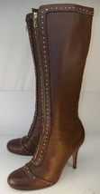 Sam Edelman Wo's US 9 M Brown Leather Studded  Zip-Up Knee High Wing Tip... - $74.44