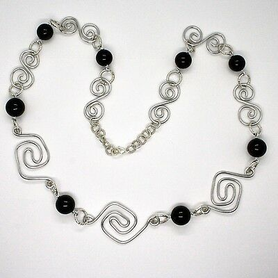 NECKLACE THE ALUMINIUM LONG 88 CM WITH ONYX BLACK ROUND
