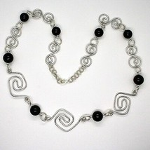 NECKLACE THE ALUMINIUM LONG 88 CM WITH ONYX BLACK ROUND image 1