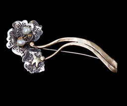 Antique Arts & Crafts 10k Gold Sterling Silver Natural Pearl Floral Pin ... - $1,169.99